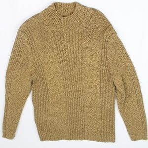 Express marled gold cable knit sweater crew neck